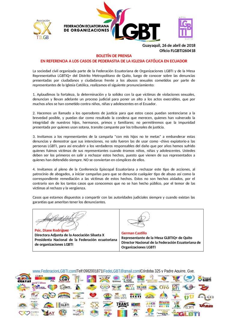 Boletín En referencia a los casos de pederastia de la iglesia católica en ecuador federacion lgbti diane rodriguez