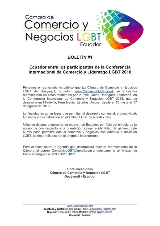 #Ecuador Cámara de Comercio y Negocios LGBT inicia gestiones internacionales-Diario El Diverso Ecuador