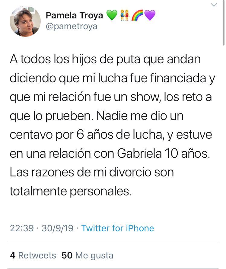 Pamela Troya insulta a personas a partir de su divorcio