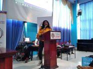Diane Rodríguez, transfeminista ecuatoriana en foro académico por el día internacional de la mujer