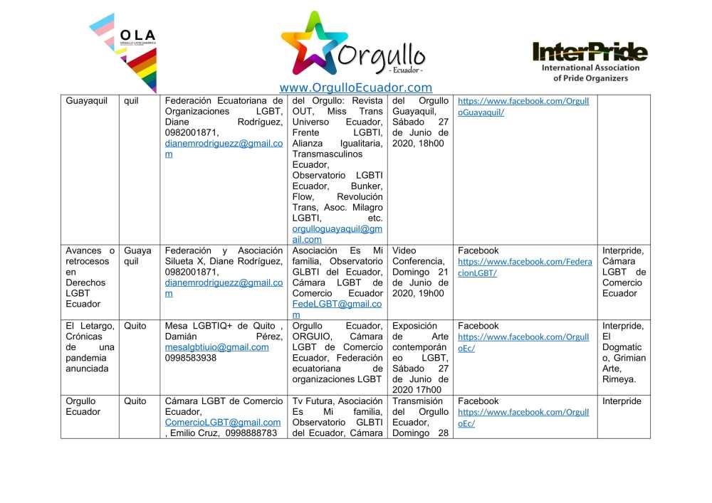 Comunicado - Agenda de la Alianza Nacional de Orgullos y actividades en el mes de junio En Ecuador - Orgullo Ecuador-2