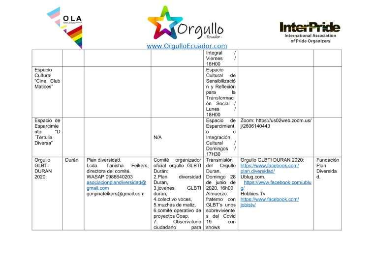 Comunicado - Agenda de la Alianza Nacional de Orgullos y actividades en el mes de junio En Ecuador - Orgullo Ecuador-4