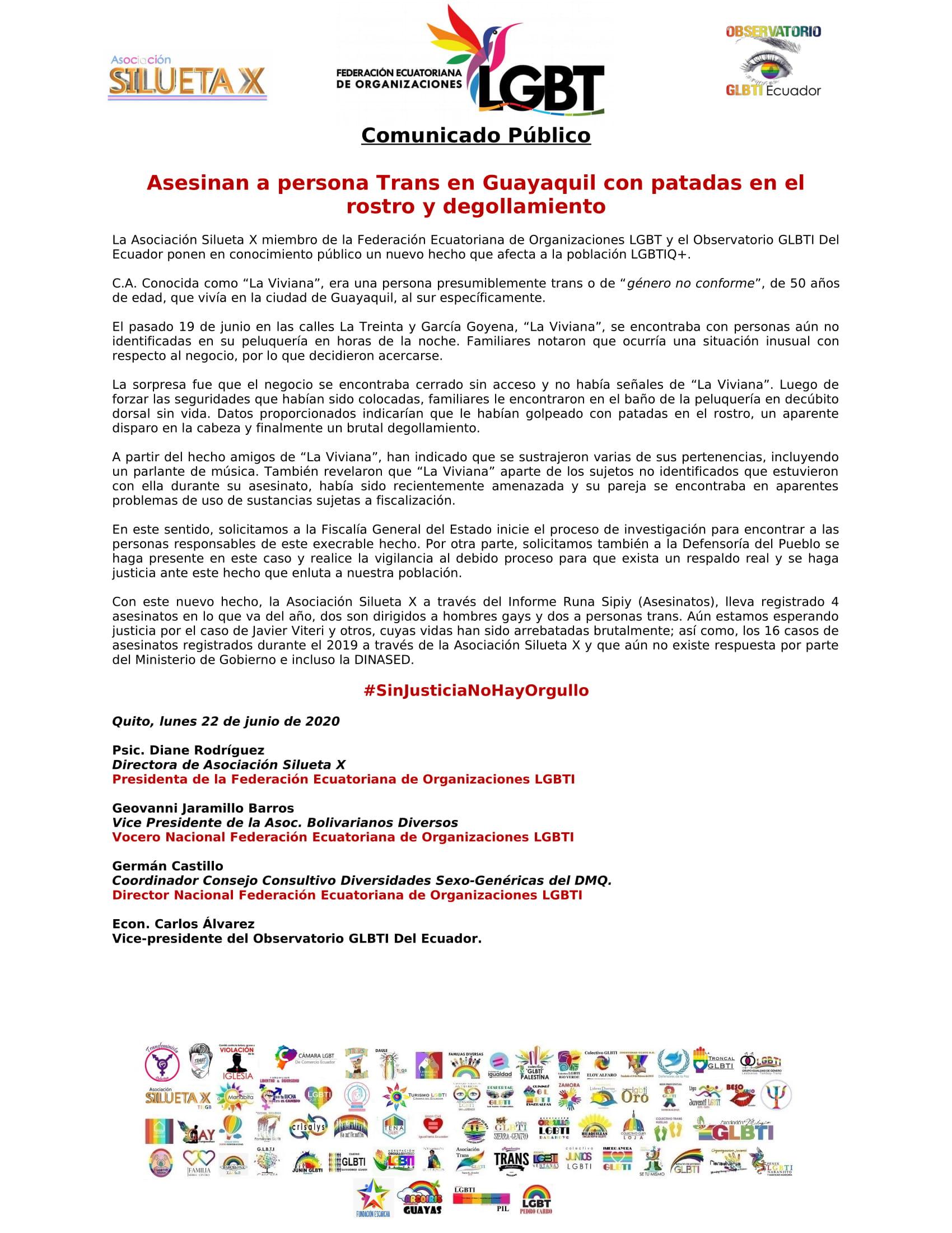 Comunicado - Asesinan a persona Trans en Guayaquil con patadas en el rostro y degollamiento - Asociación Silueta X - Federación Ecuatoriana de Organizaciones LGBT-1