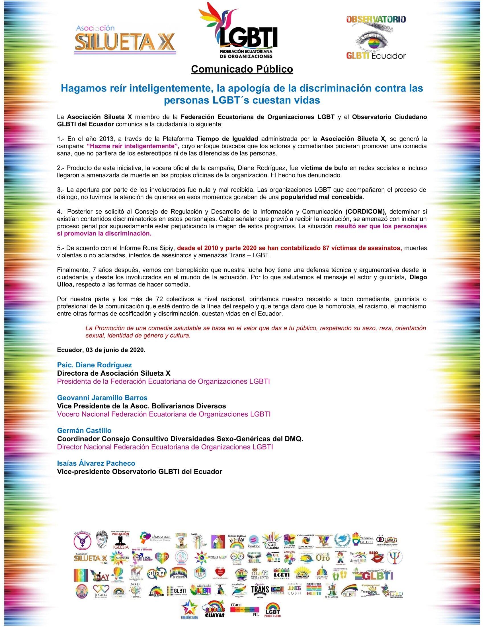 Comunicado Público - Hagamos reír inteligentemente, la apología de la discriminación contra las personas LGBT´s cuestan vidas - Asociación Silueta X - federación Ecuatoriana de Organizaciones LGBT