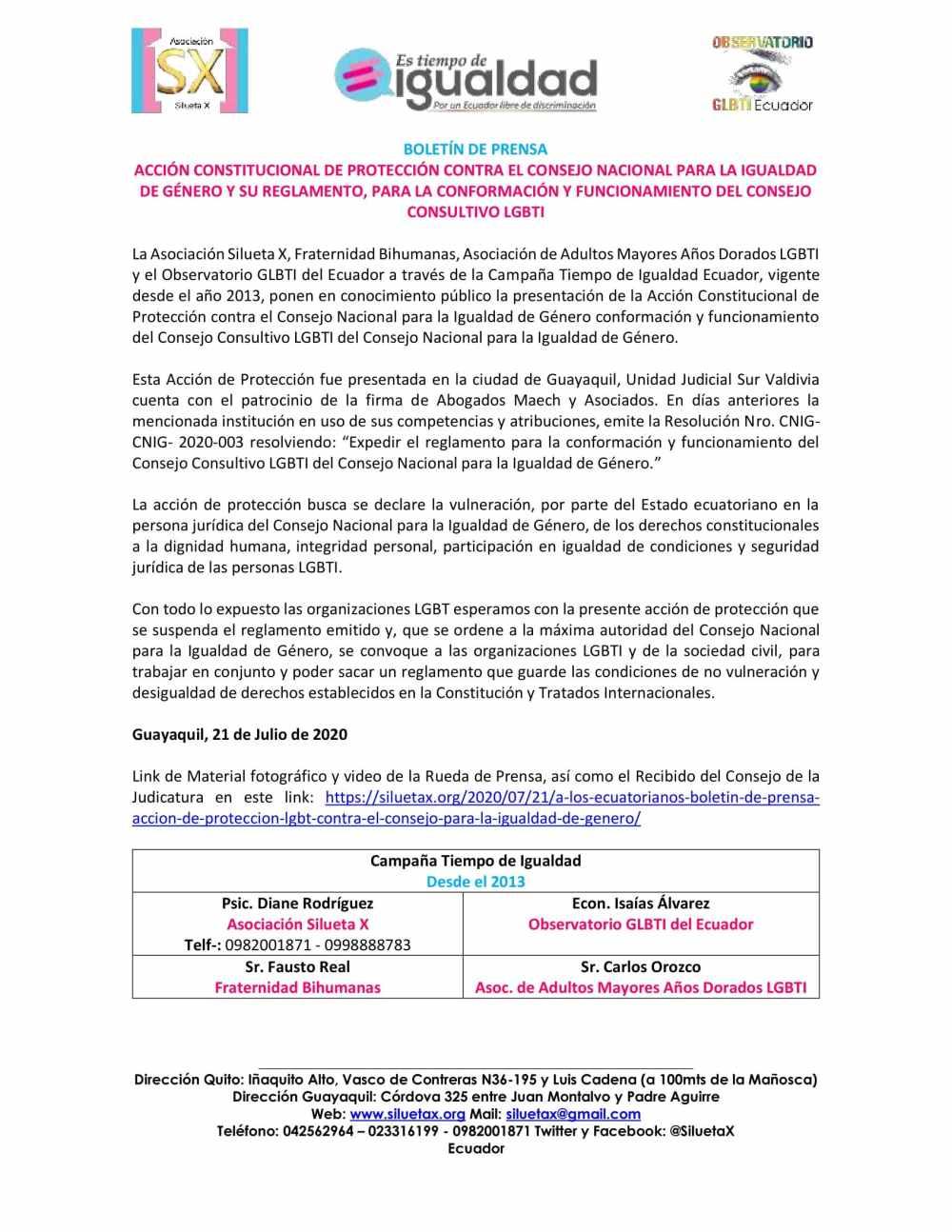 A LOS ECUATORIANOS, BOLETÍN DE PRENSA – ACCIÓN DE PROTECCIÓN LGBT CONTRA EL CONSEJO PARA LA IGUALDAD DE GÉNERO - Asociación Silueta X